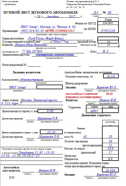 Заправочный лист образец
