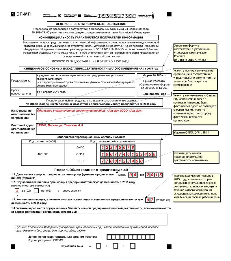форма эп-ип к приказу росстата от 09.06.2015г 263